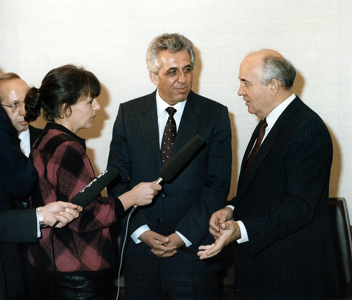 Gorbachev meeting Egon Krenz, East Germany's last leader.