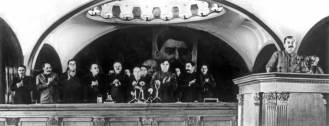 Preparations for the November 7, 1941 celebrations. Joseph Stalin making speech on 24th anniversary of Great October Socialist Revolution at the official sitting of the Moscow City Council. Mayakovskaya, November 6, 1941.