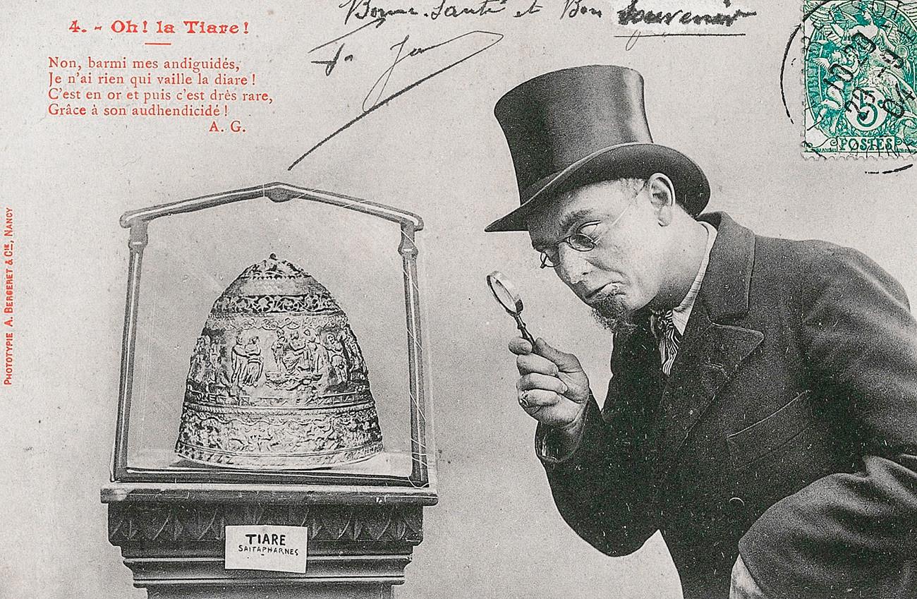 A postcard mocking the Gokhman case, when the Louvre acquired a fake Skythian tiara.