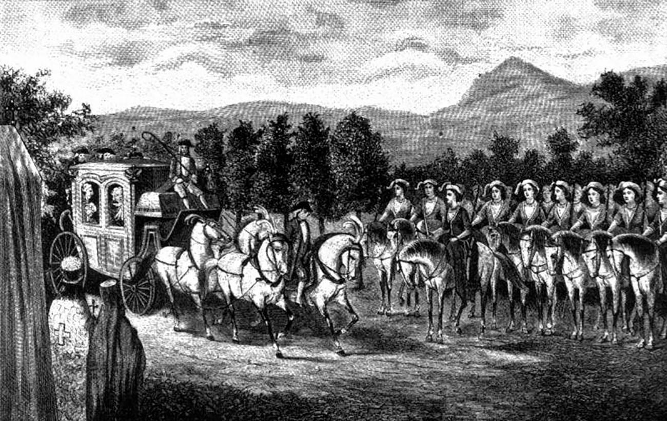 """Императорка Катарина и """"чета амазонки""""."""