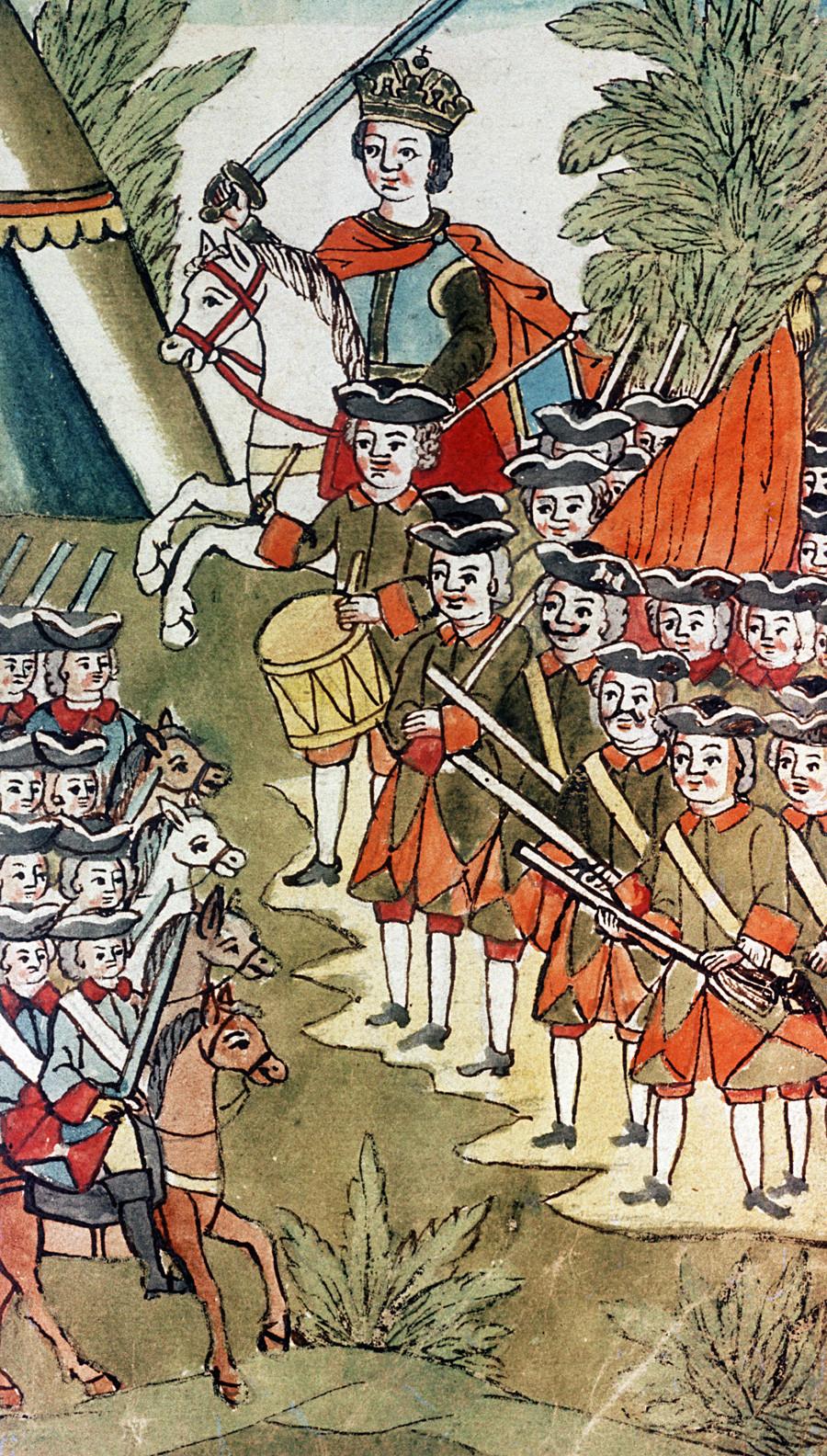 Der junge Peter der Große befehligt seine Spielregimenter.