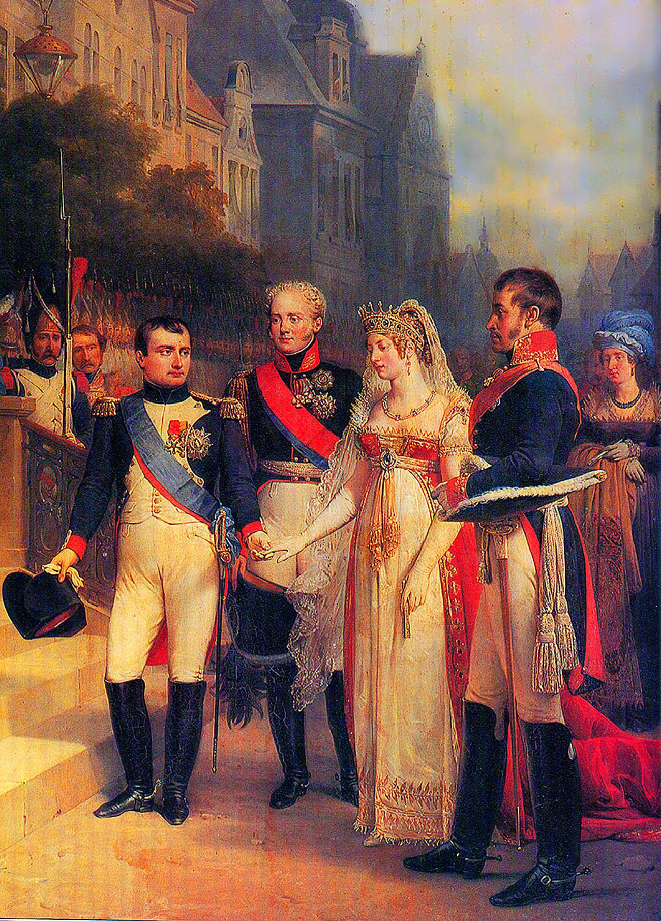 Rencontre de Tilsit en1807. De gauche à droite : Napoléon, Alexandre Ier, Louise de Prusse, Frédéric-Guillaume III
