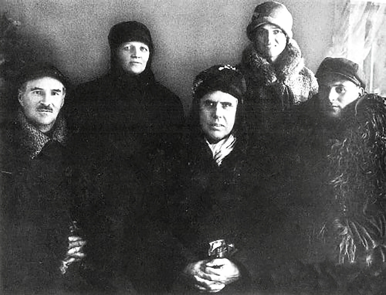 Theodore Dreiser (C) visiting the Soviet coal mine, 1927
