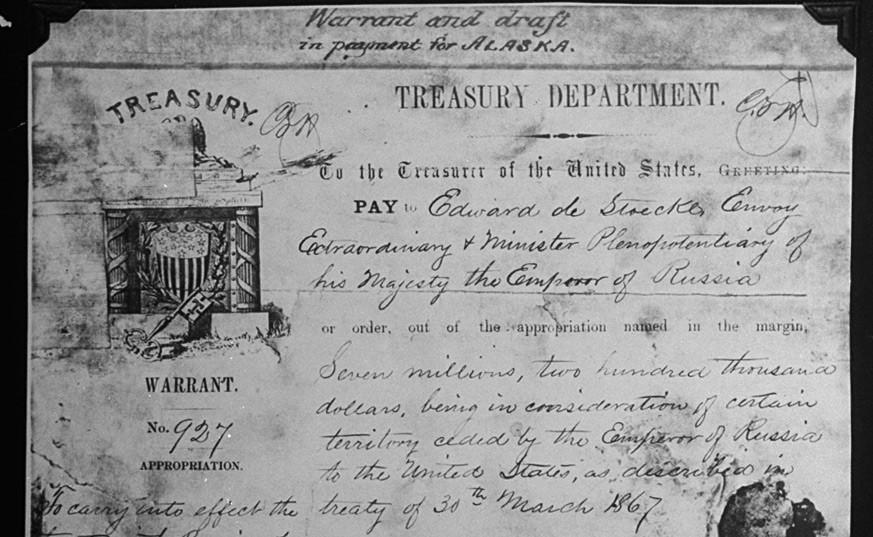 Dokument o kupnji Aljaske od Rusije za 7 200 000 u Riggsovoj banci.