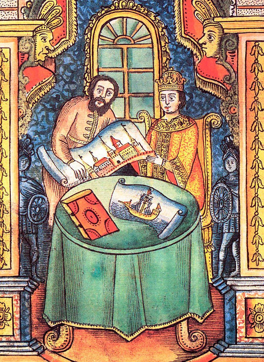 Le diacre Nikita Zotov apprend à Pierre Ier la fortification et les sciences militaires.