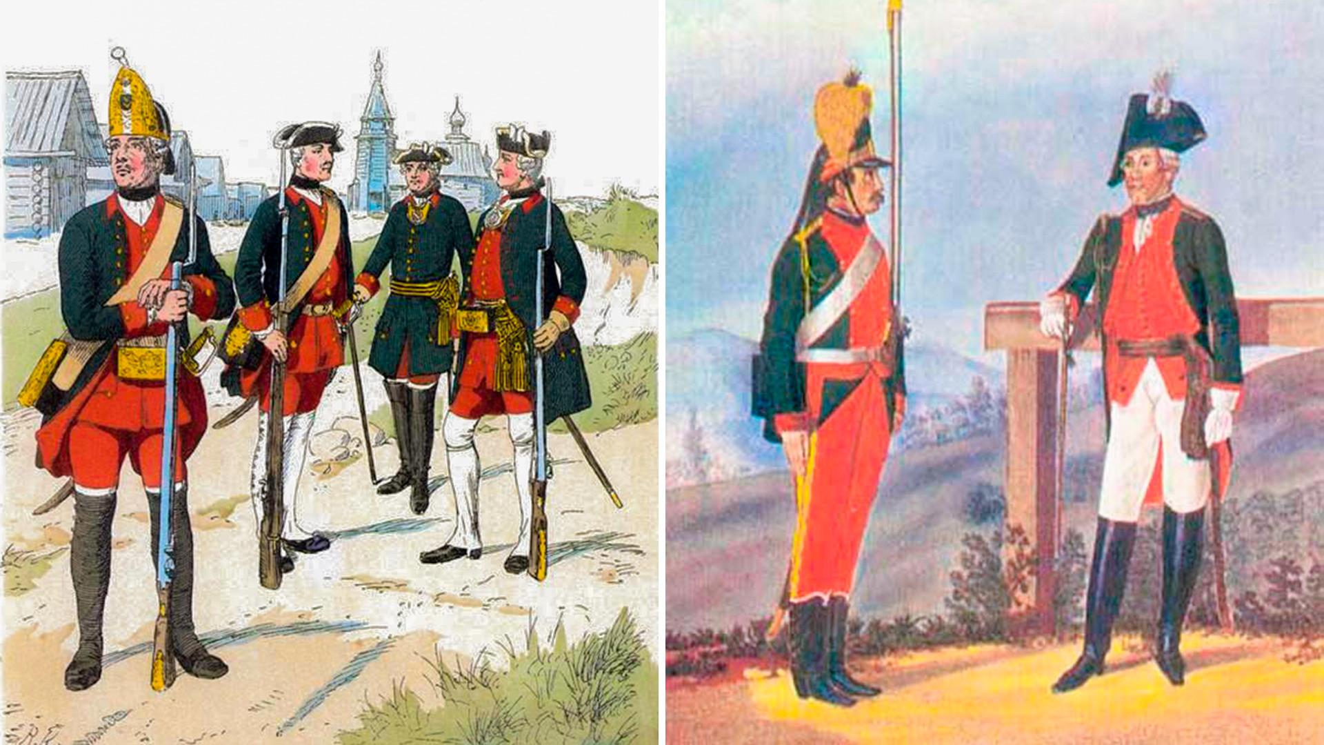 L'uniforme des soldats russes avant et après la réforme initiée par Potemkine