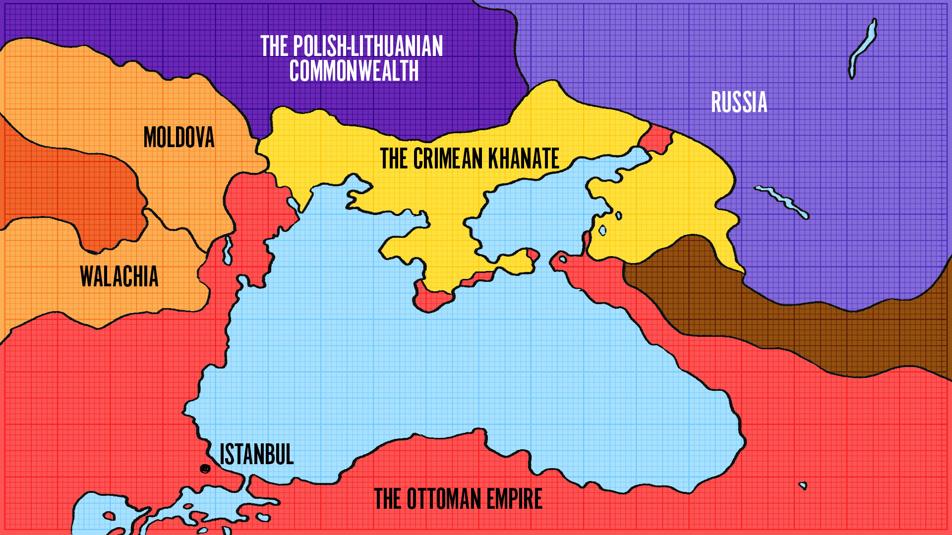 From South, Crimea was surrounded by the Ottoman Empire's lands