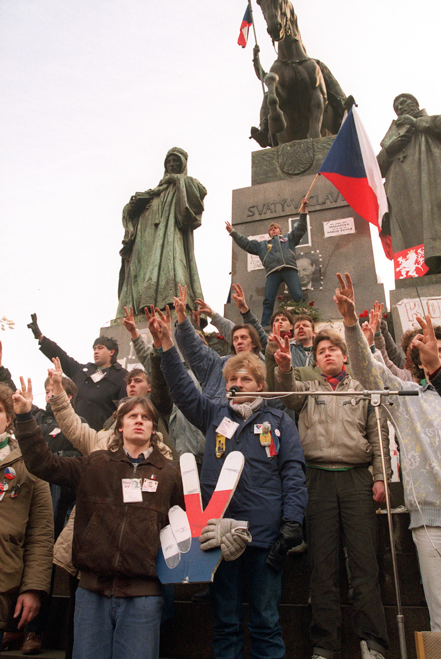 Fall of the Communist government in Czechoslovakia, celebrated by the locals.