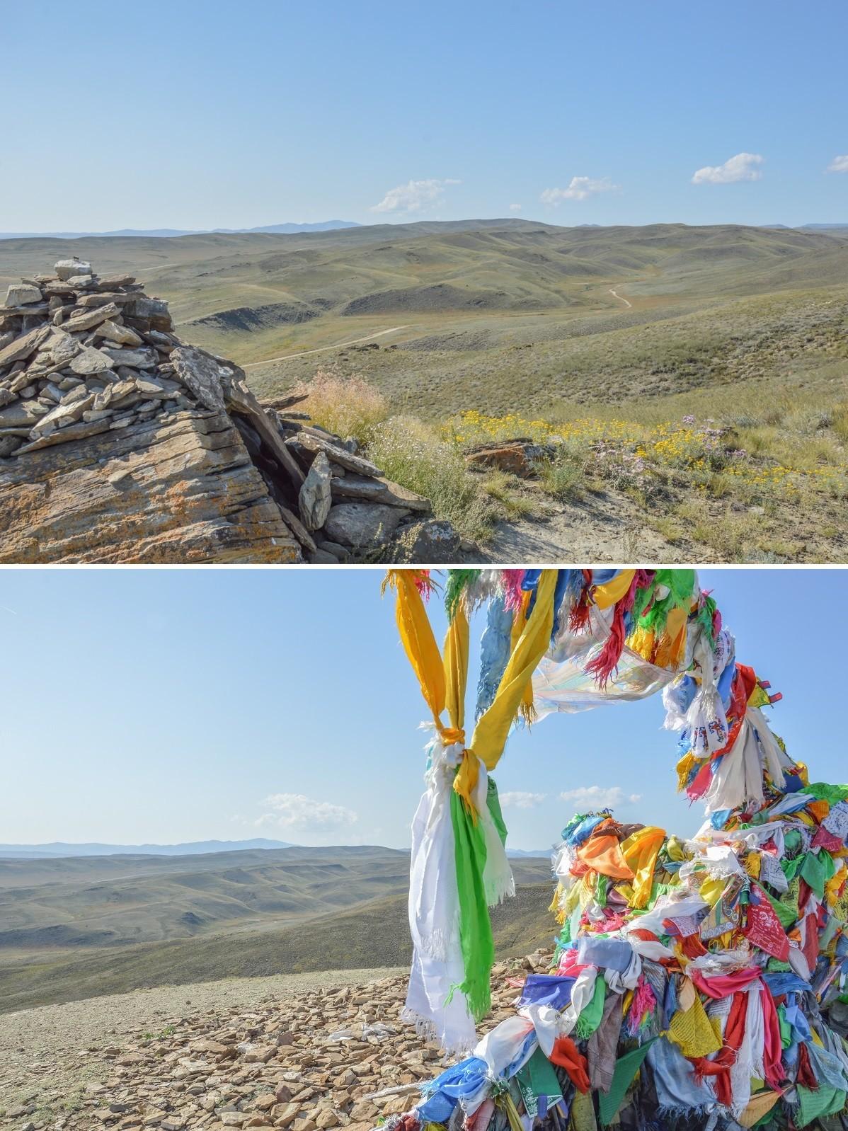 Comme ailleurs en Sibérie, le bouddhisme est ici fortement empreint de chamanisme, et alors que se dresse au sommet du Doguèè un mat auquel sont accrochées des centaines de drapeaux à prières, les sentiers sinuent entre les ovaa, de petites pyramides de pierres, honorant les esprits de la terre.