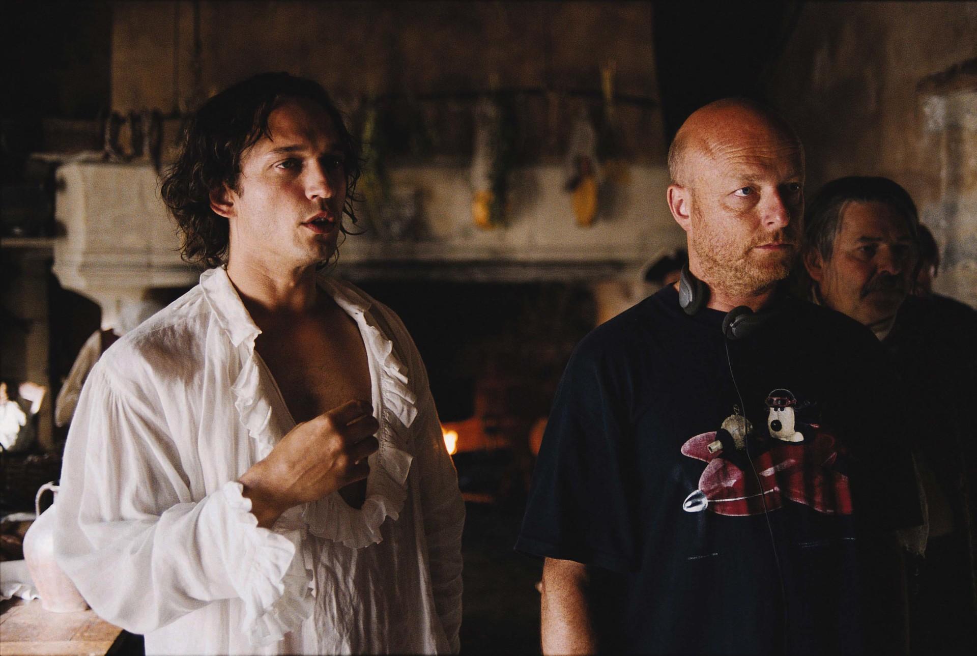 Avec Vincent Perez lors du tournage du film Fanfan la Tulipe