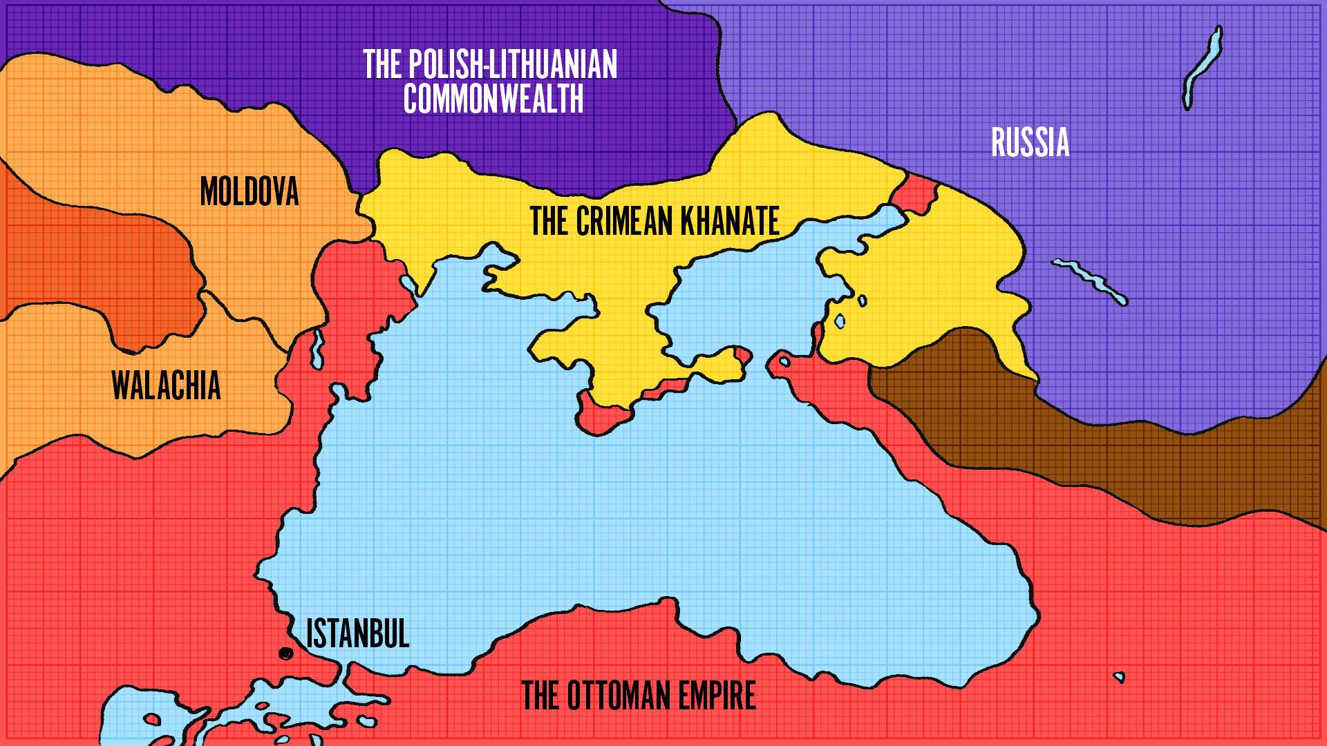 Krim je s juga bio okružen zemljama Osmanskog Carstva.