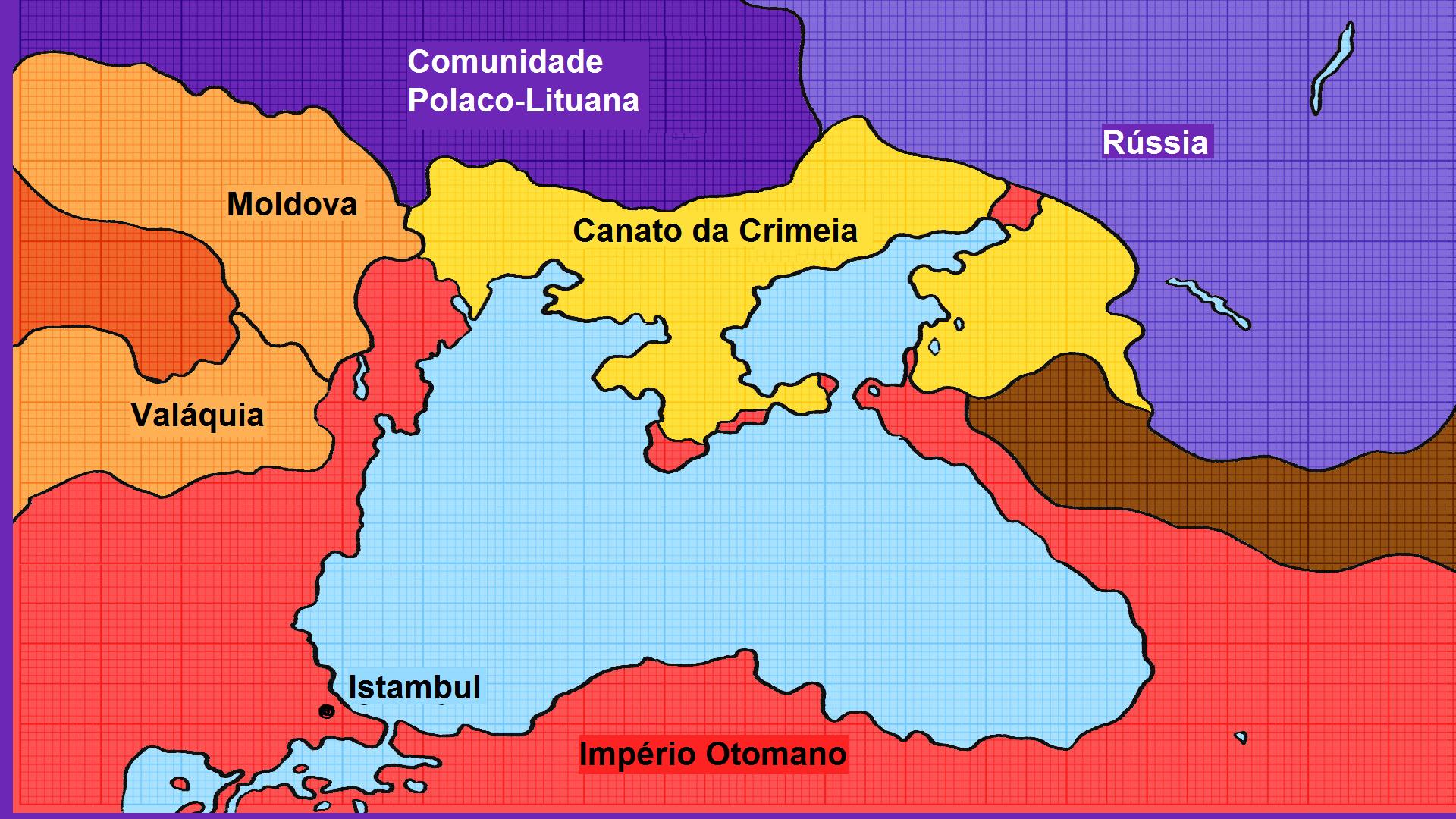 No sul, a Crimeia estava cercada por terras do Império Otomano