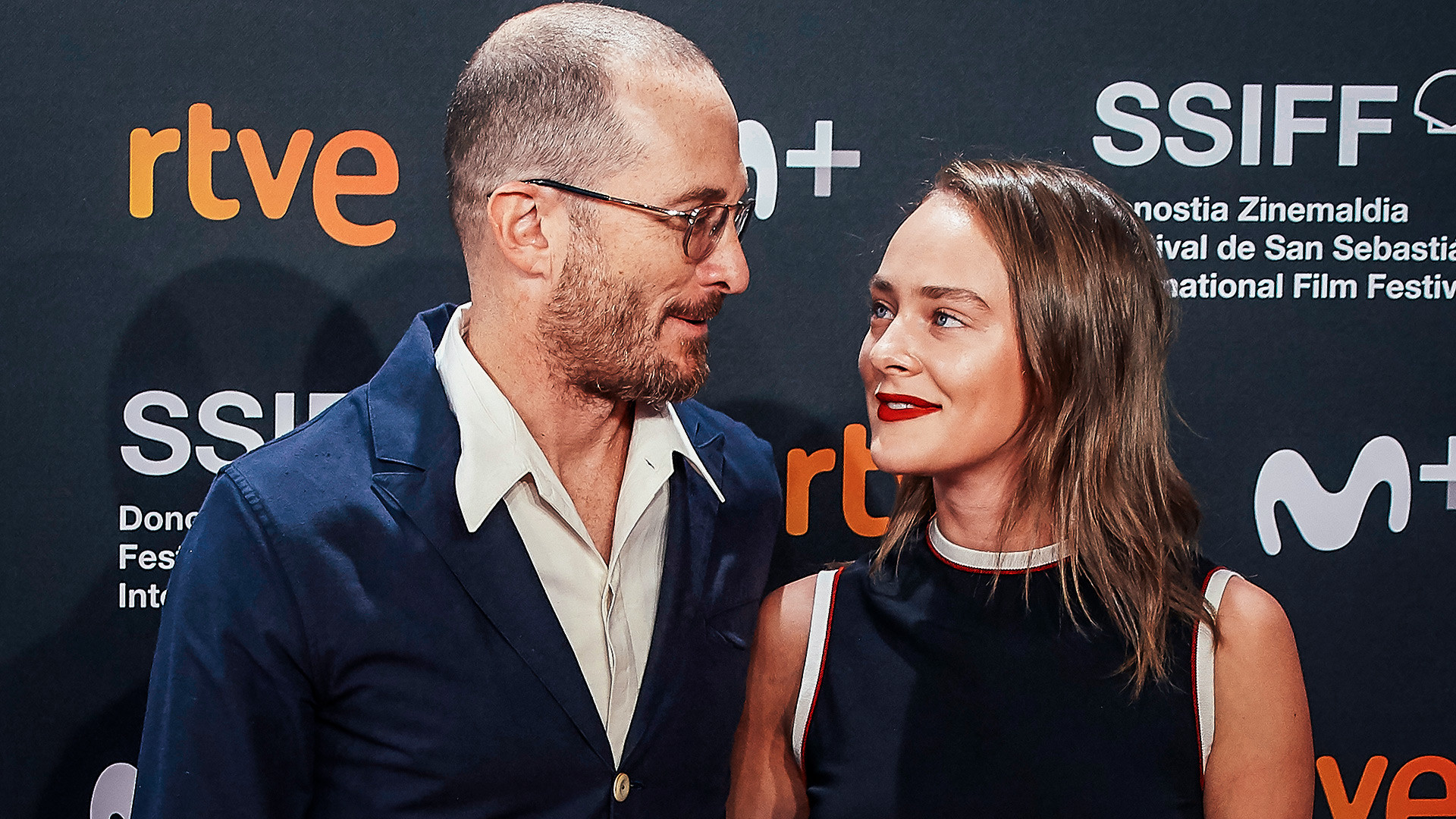 Producer Darren Aronofsky and Aglaya Tarasova attend 'Pacificado (Pacified)' premiere during 67th San Sebastian International Film Festival on September 24, 2019