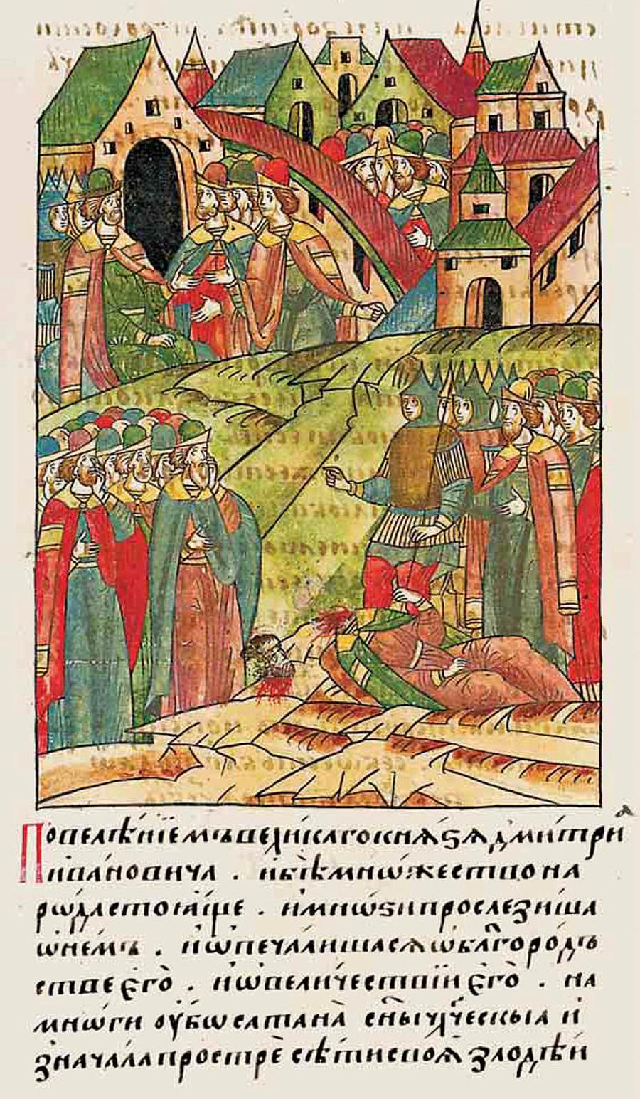 Una delle prime esecuzioni pubbliche della storia russa raffigurata nelle cronache dell'epoca