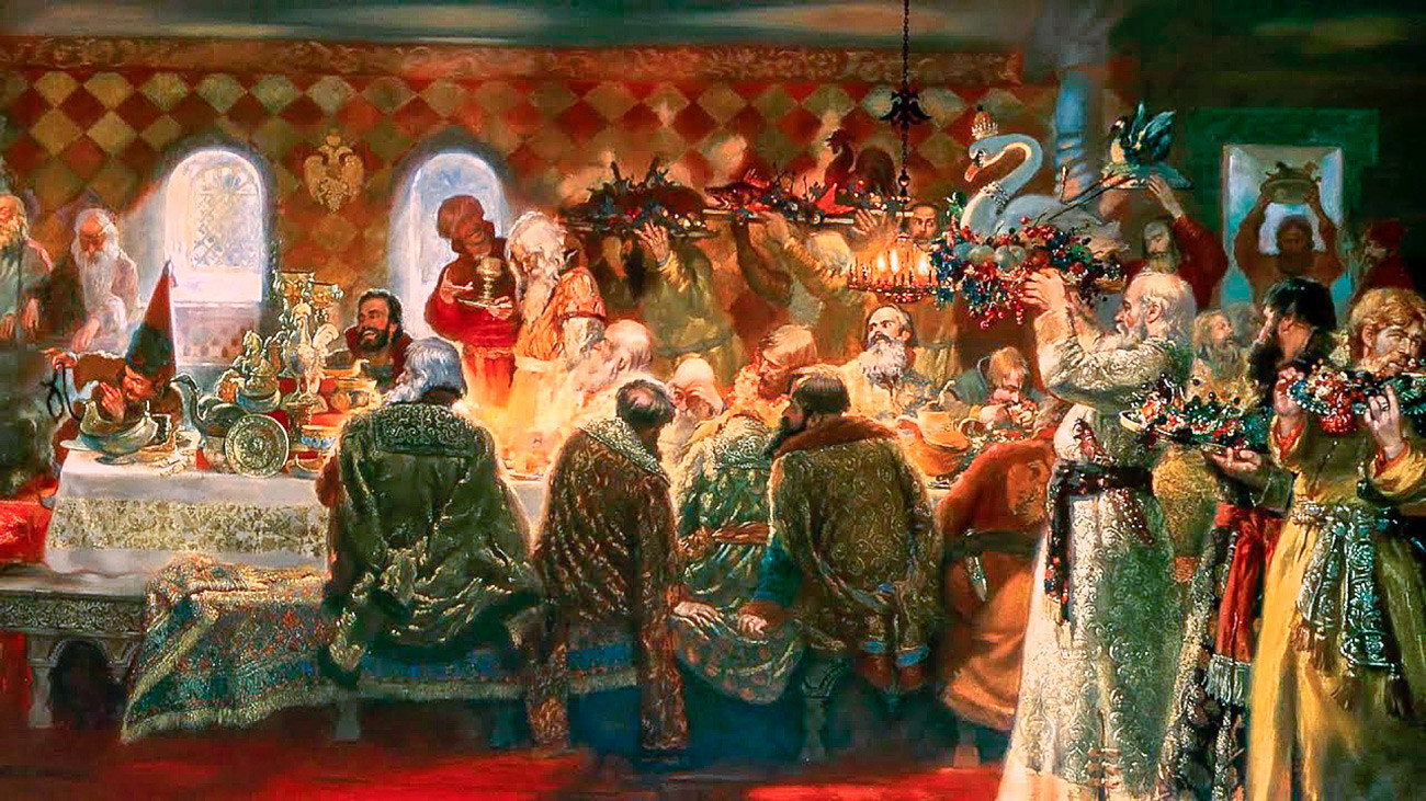 Banquete de Ivan, o Terrível, em sua residência Aleksandrova Sloboda