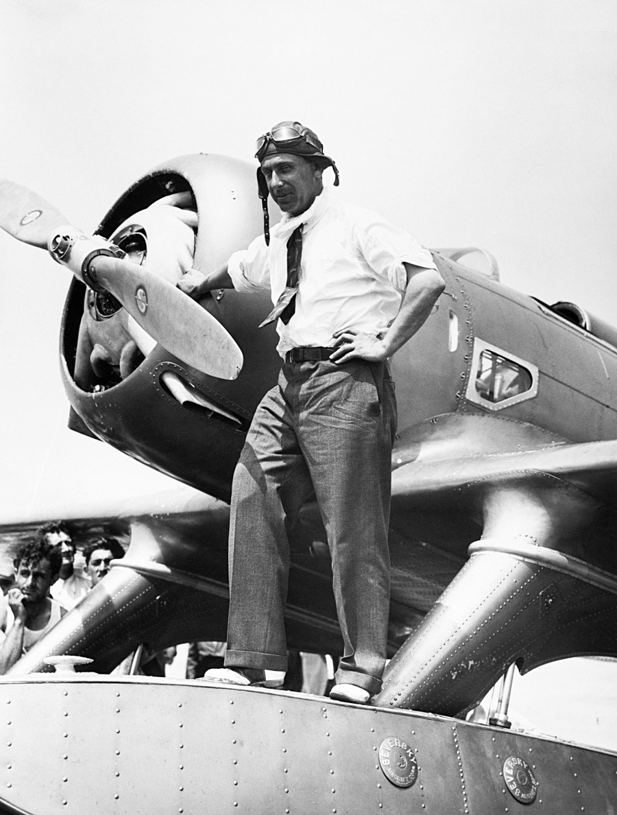 Alexander P. de Seversky standing by his plane in 1933.