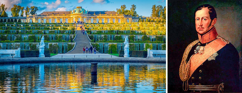 Слева: Потсдам, Сан-Суси. Спрва: Фридрих Вильгельм III.