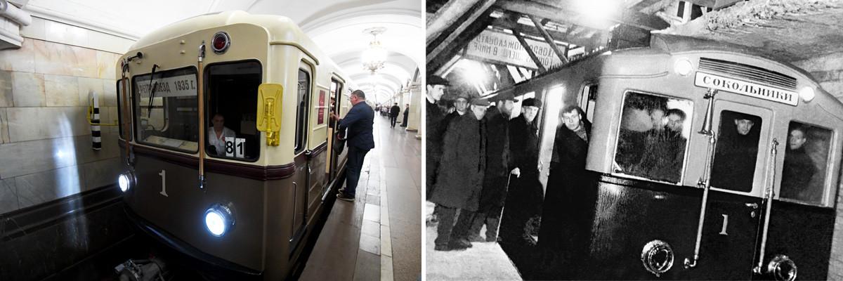 Слева: Ретропоезд «Сокольники» 2010 года, стилизованный под подвижной состав из вагонов типа «А» 1935 года. Справа: Первый поезд московского метро совершает пробный рейс, 1935.