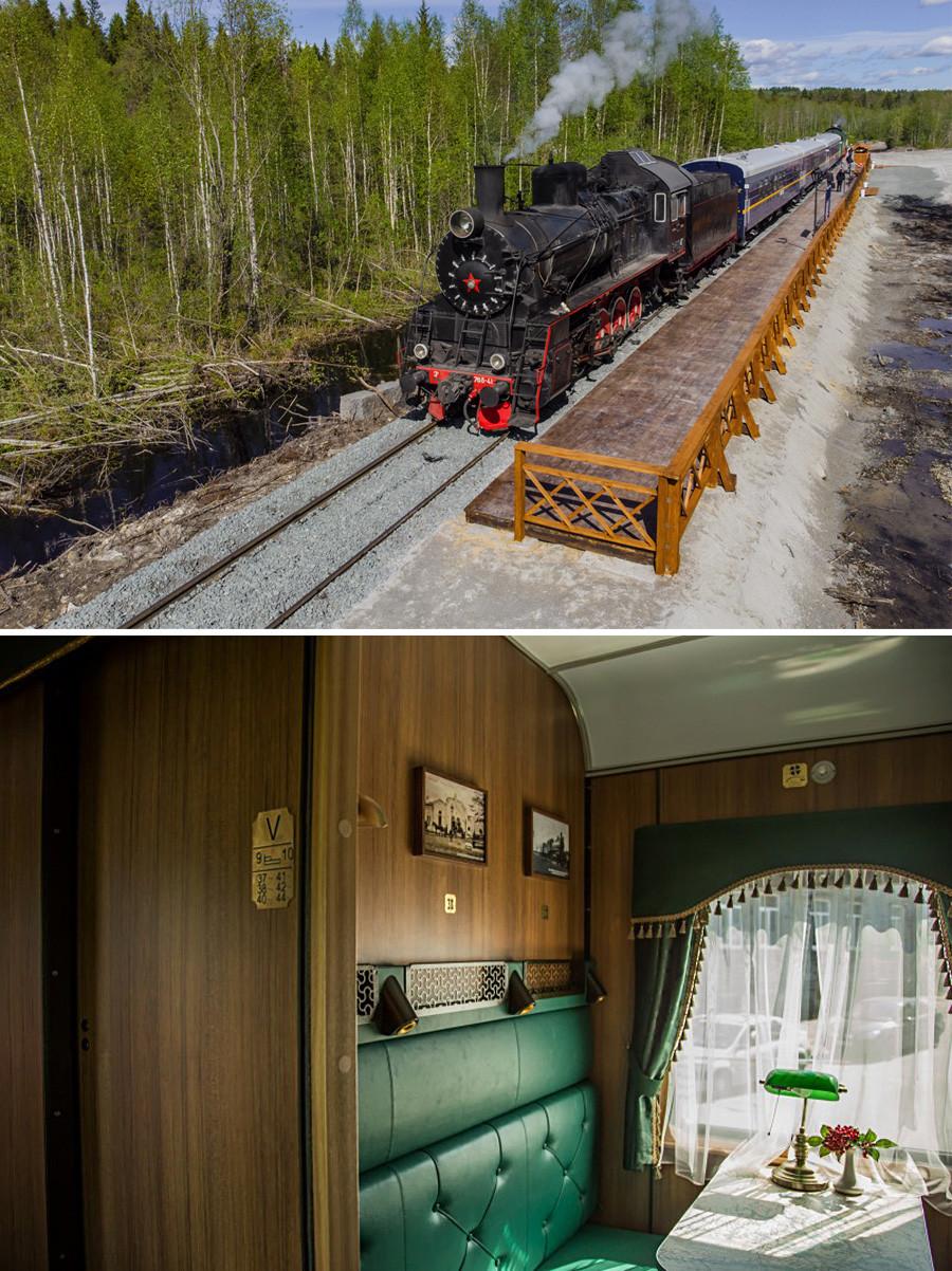 Ретропоезд «Рускеальский экспресс» в карельских лесах на пути к горному парку. Внизу купе поезда изнутри.