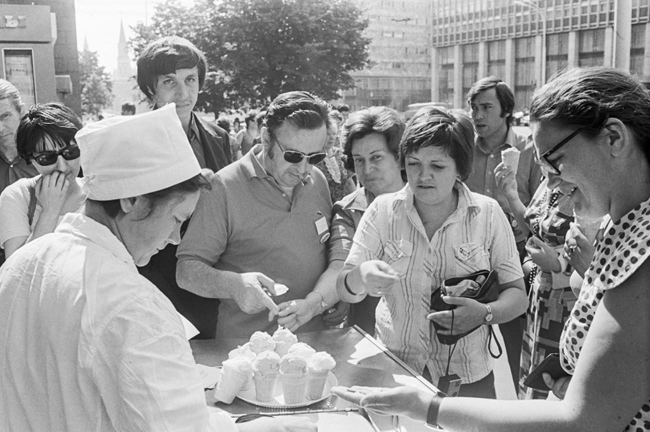 Touristen aus Frankreich in Moskau, 1976