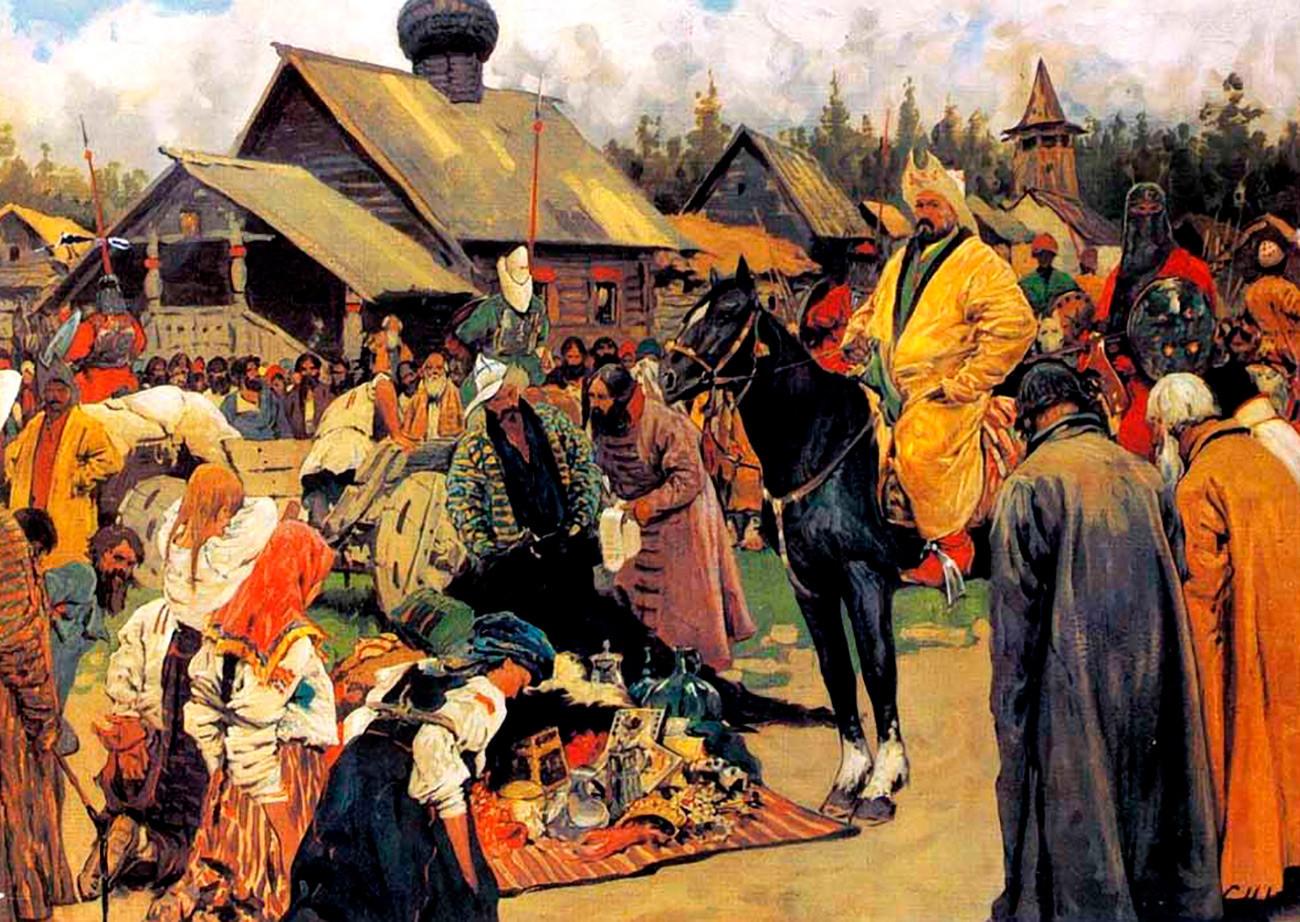 """""""Die Baskaken"""" von Sergei Iwanow. Die Baskaken waren Zivilbeamte der Goldenen Horde, die Steuern von Russen einnahmen."""