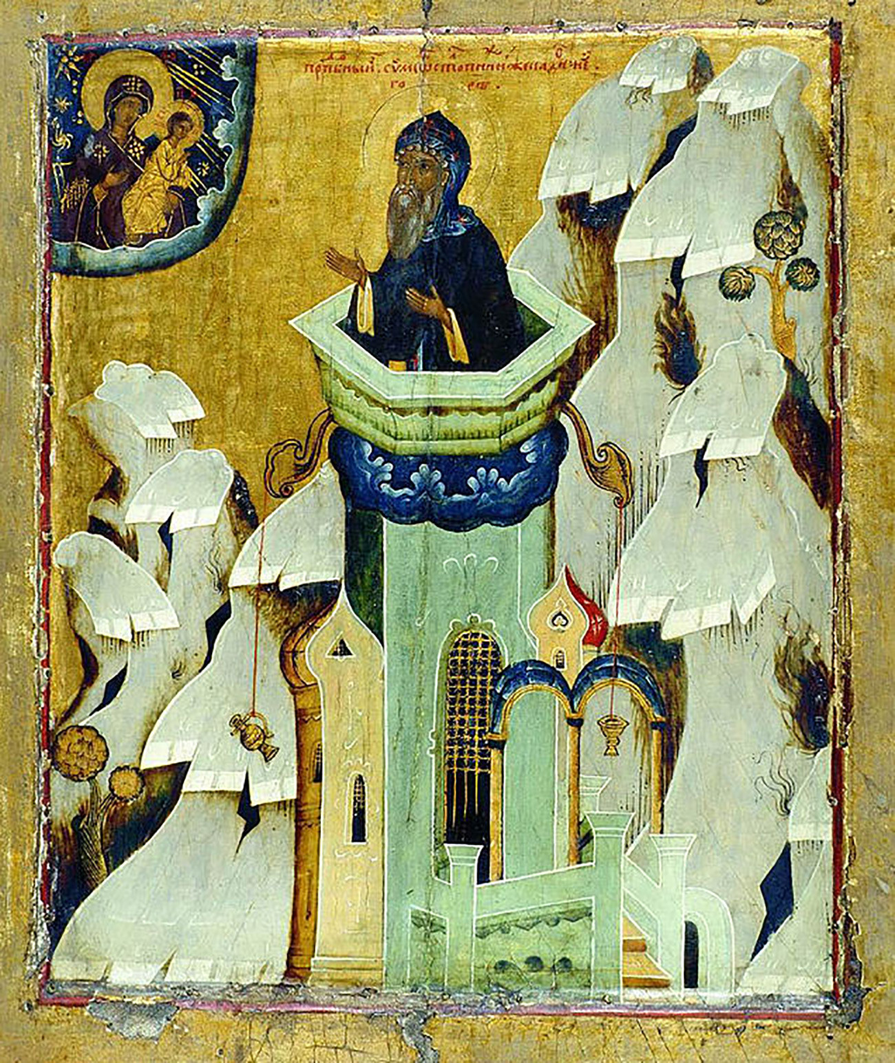 Saint Simeon Stylites. Icon of 16th century