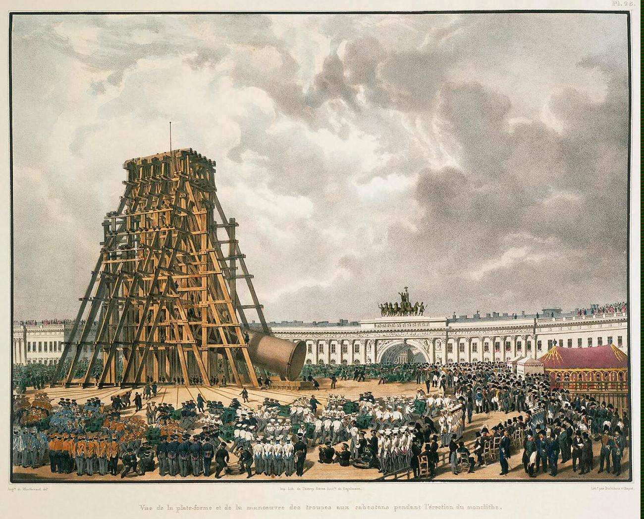 Instalação de Coluna de Alexandre em São Petersburgo, 1832