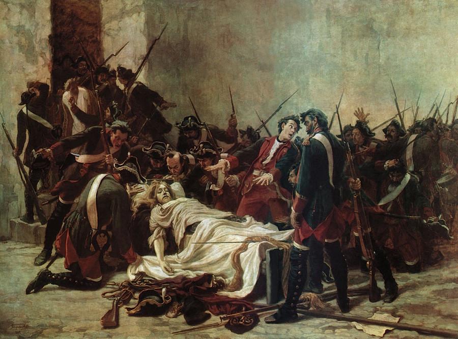 Vasilij Miròvich davanti al corpo di Ivan VI nella fortezza di Shlisselburg