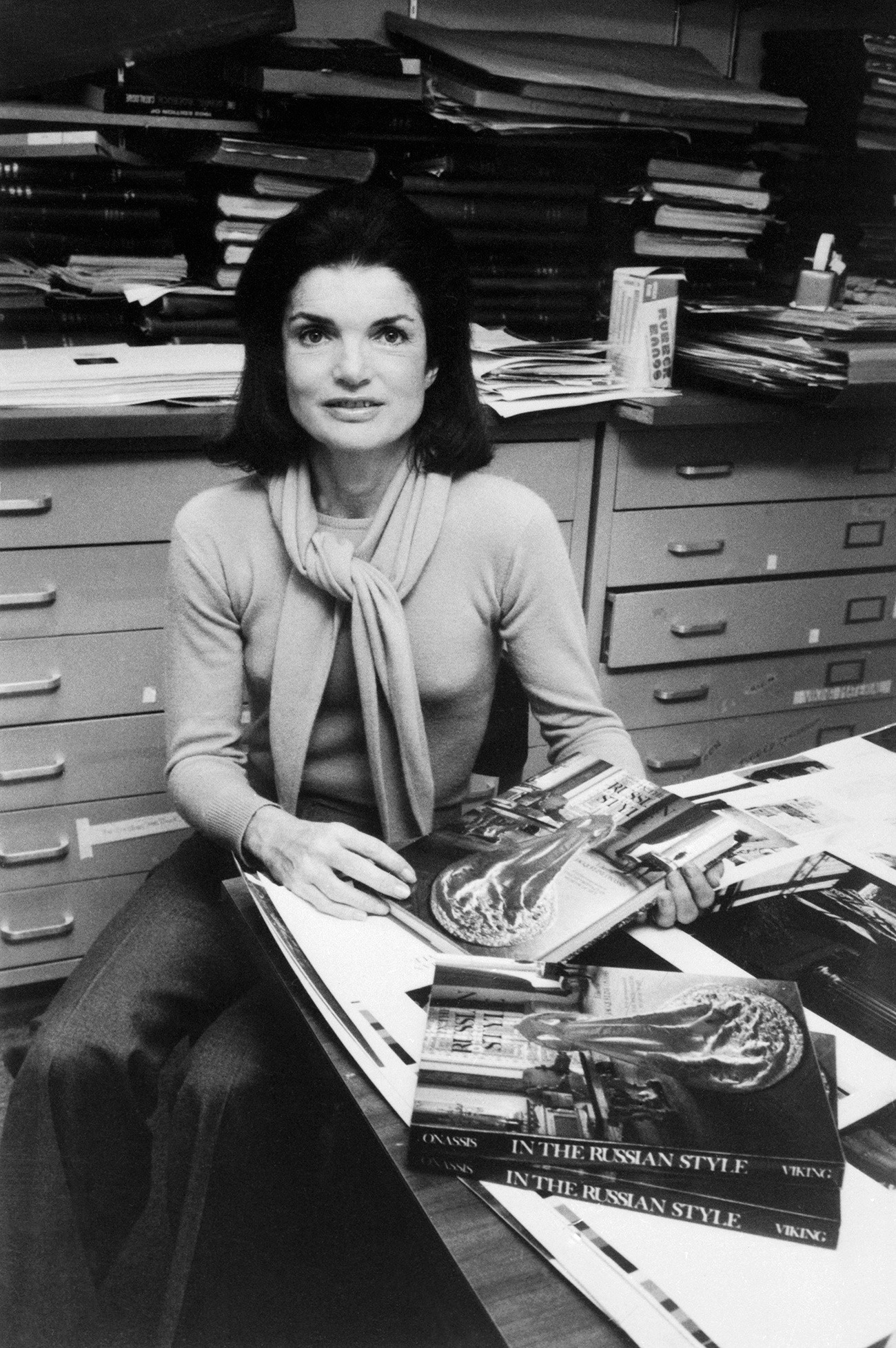 Jackie Kennedy Onassis in the publishing house Viking Press introducing her book 'In The Russian Style,' 1976
