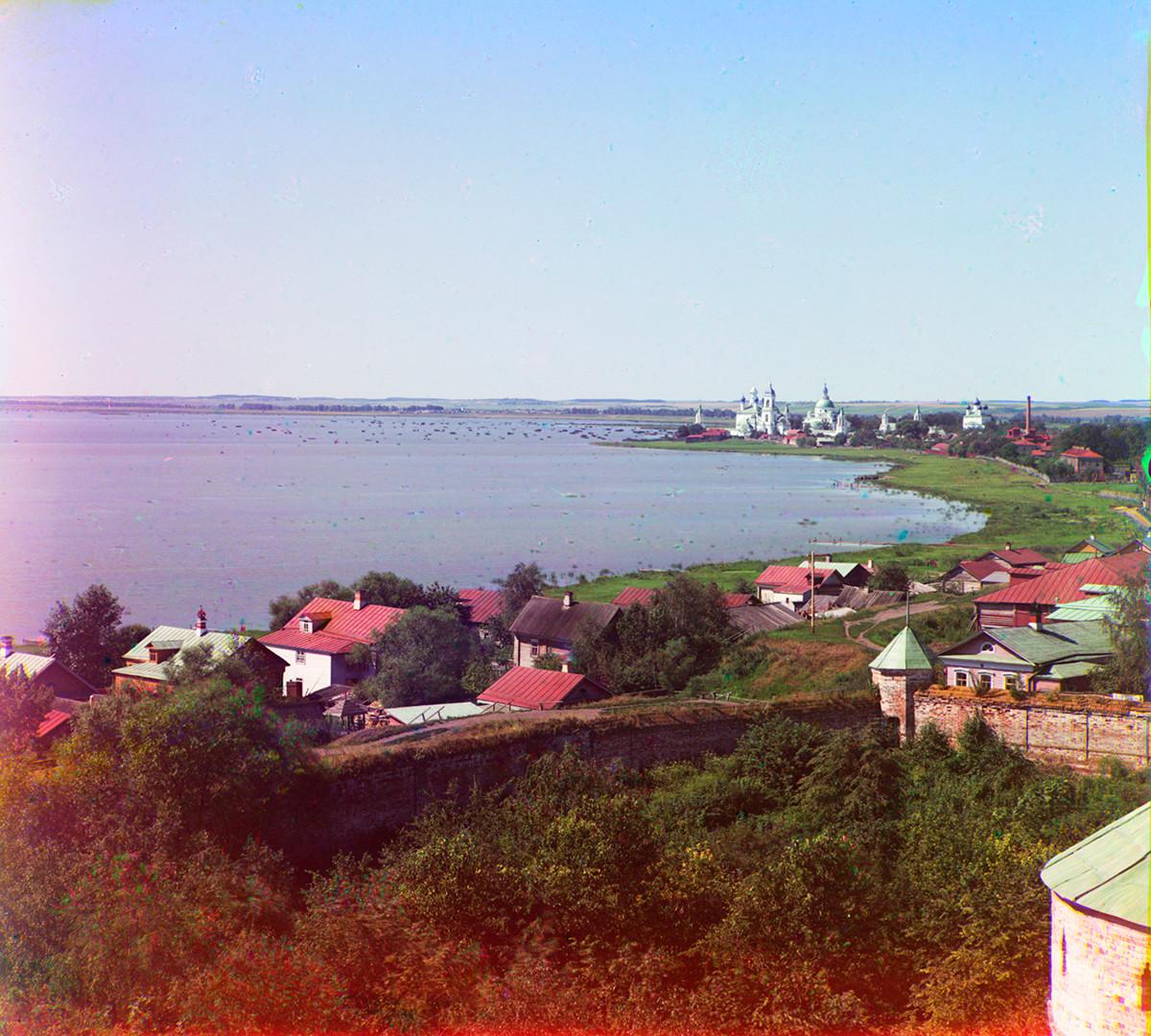 Savior-St. Iakov-St. Dimitry Monastery & north shore of Lake Nero. View west from pinnacle of south tower of Rostov Kremlin. Summer 1911.