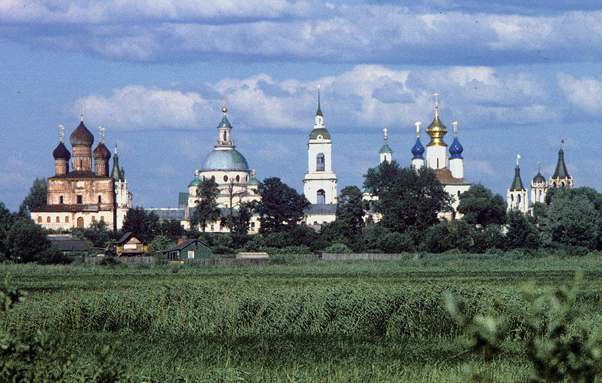 View east from Lake Nero embankment. From left: Church of Transfiguration of the Savior, Church of St. Dimitry of Rostov, bell tower, Conception of St. Anne Cathedral. June 28, 1995.