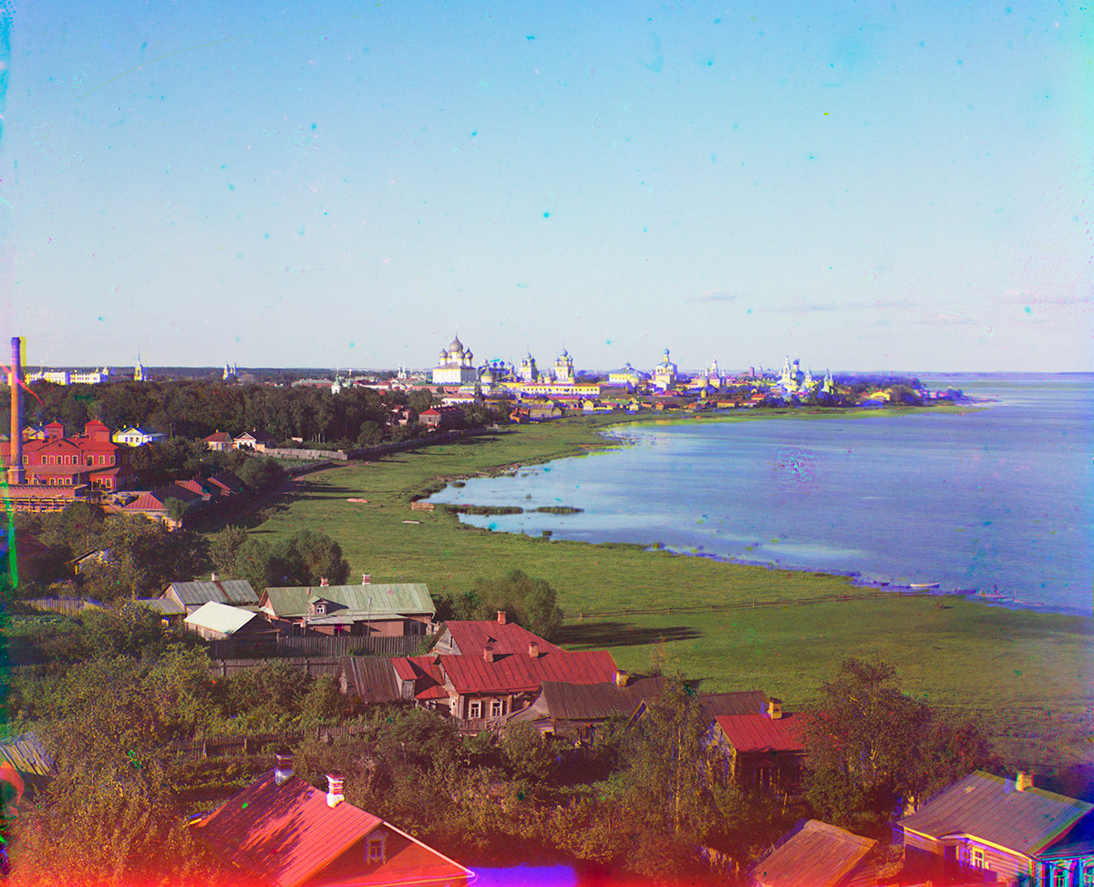 View east from bell tower toward north shore of Lake Nero & Rostov Kremlin. Summer 1911.