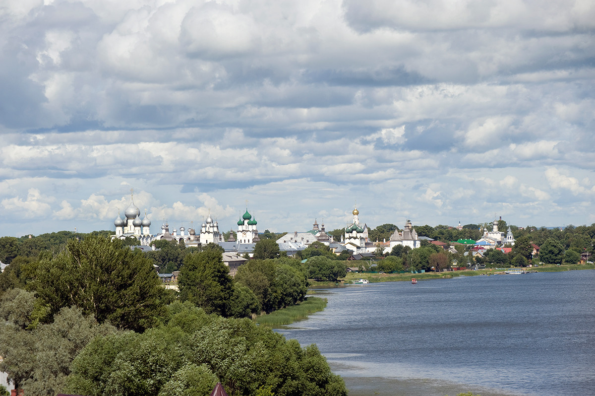 View east from bell tower toward north shore of Lake Nero & Rostov Kremlin. July 7, 2019.