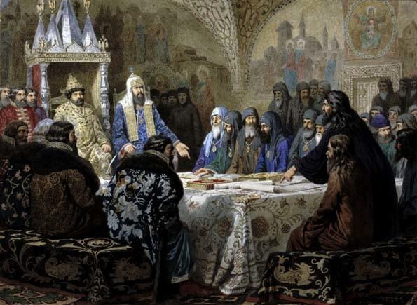 Alekseï Kivchenko. « Le patriarche Nikon révisant les livres du service religieux », 1880