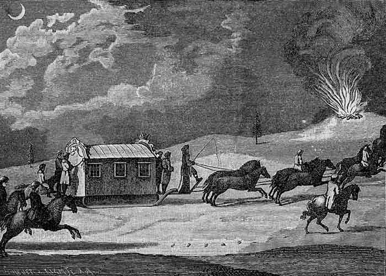 Затворена санка со коњска запрега на императорката Екатерина Велика.