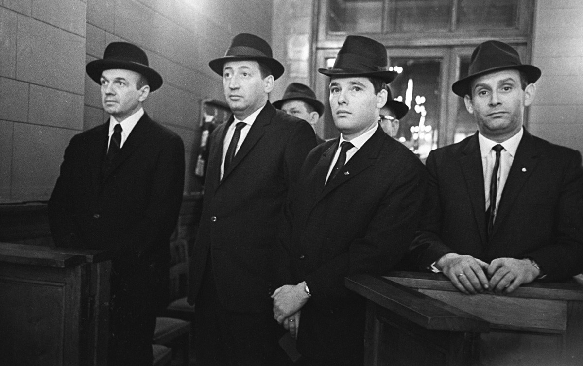 Israel's embassy employees at the Moscow synagogue in 1964. Three years later the USSR would close the embassy and force them to leave.