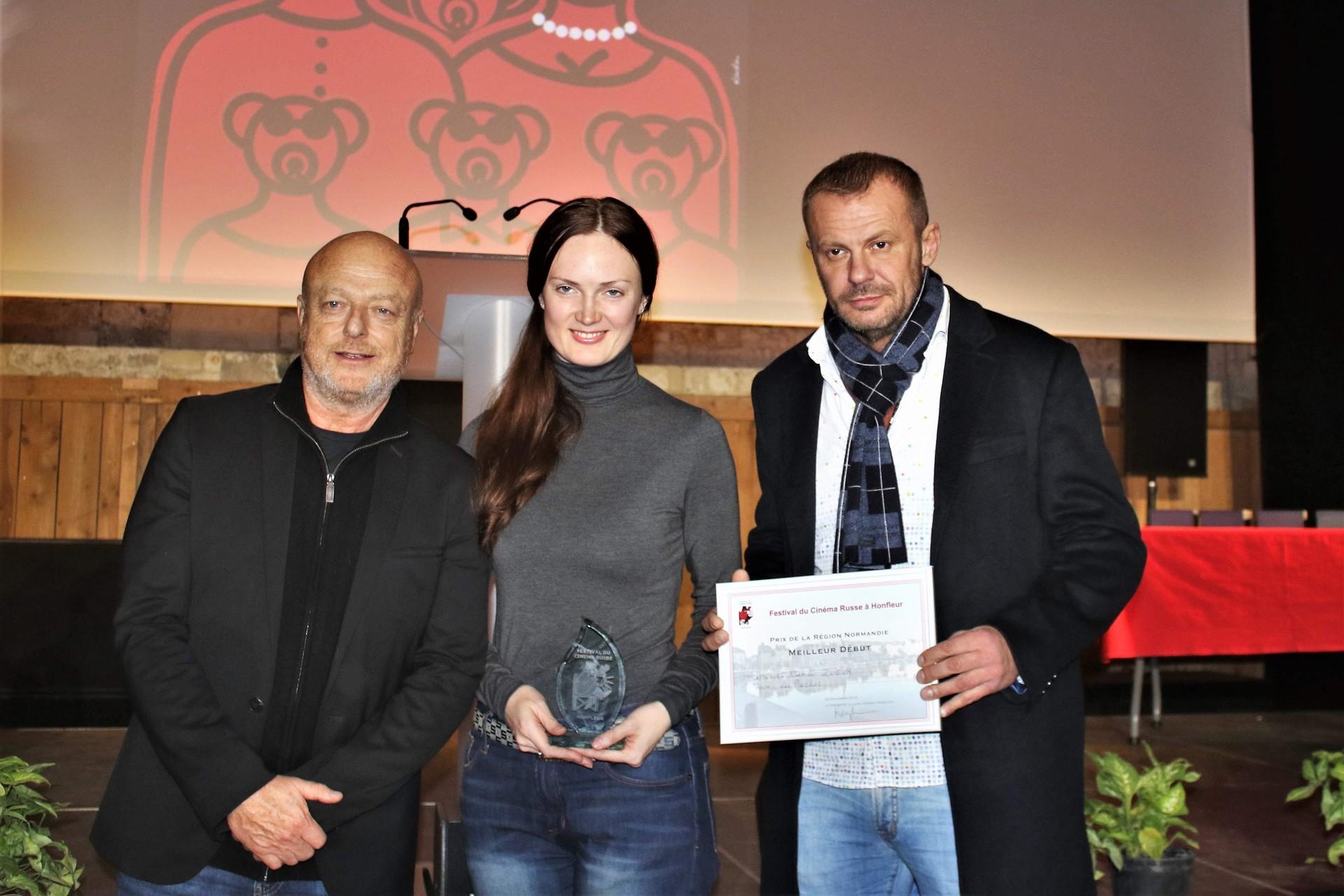 Gérard Krawczyk, Président du Jury, la productrice Katerina Mikhailova et Andrey Stoyanov, acteur du film Les proches