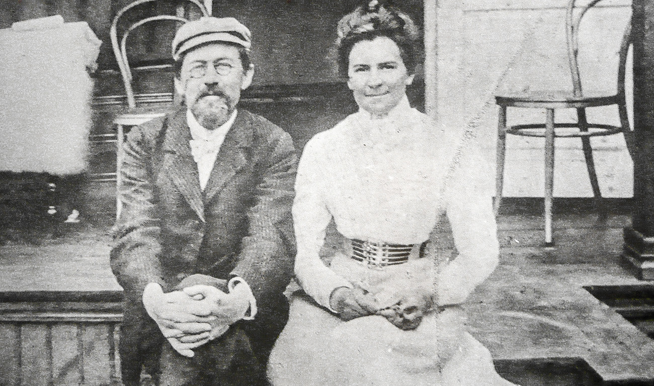 Anton Chekhov with his wife Olga Knipper, an actress who starred in his several plays.