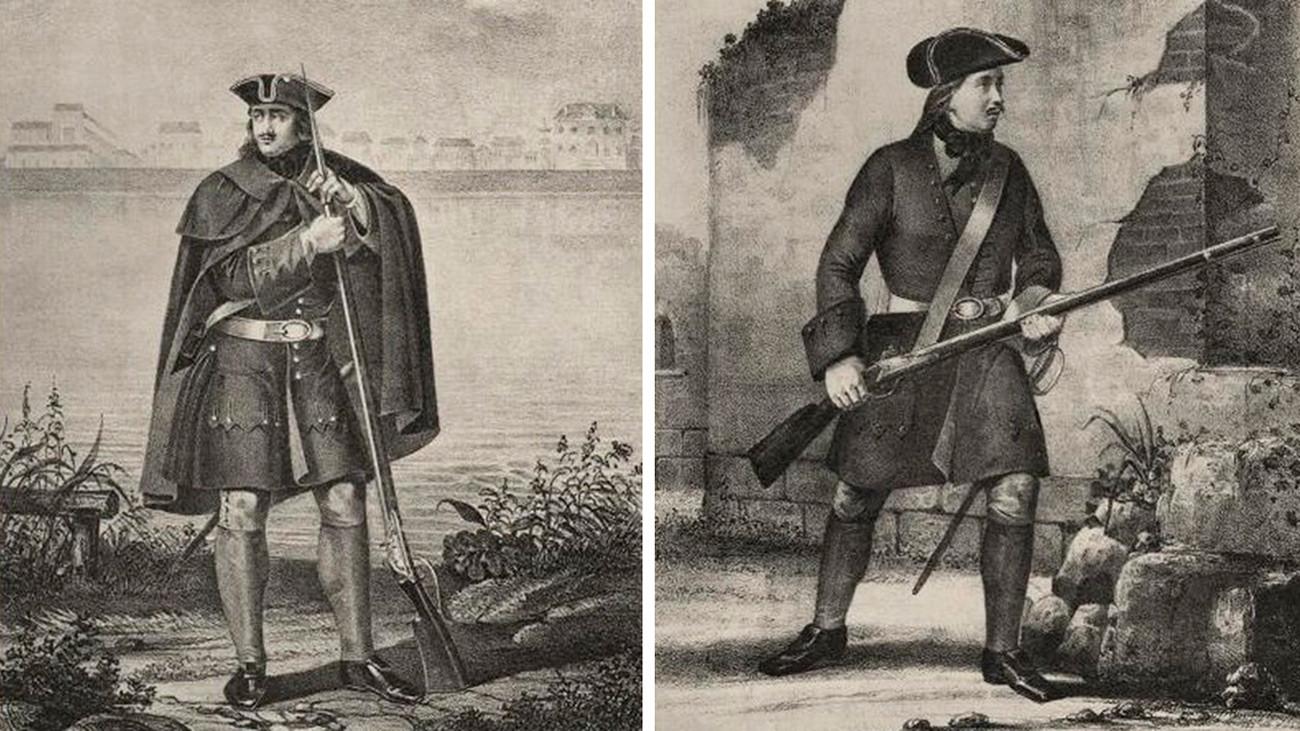 プレオブラジェンスキー近衛連隊とセミョーノフスキー近衛連隊のフュージリアー(マスケット銃で武装した兵士)