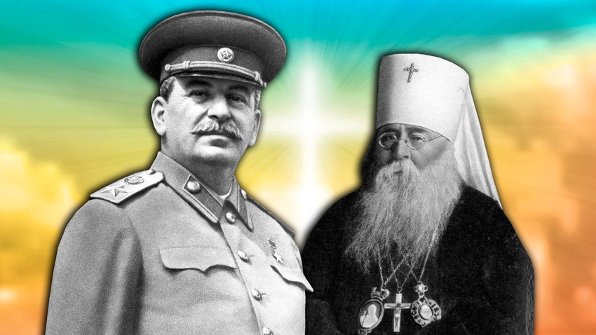 Joseph Stalin and Patriarch Sergius, who headed the Orthodox Church in the USSR while Stalin was in power.