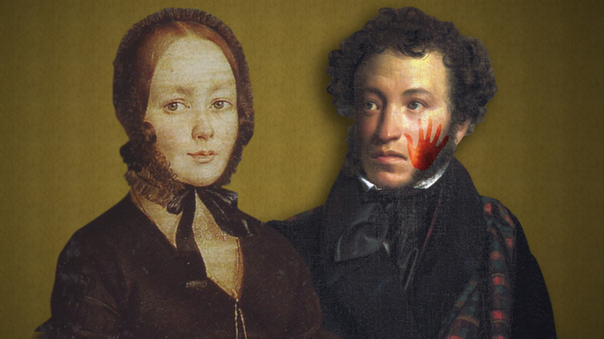 Alexander Pushkin (R) and Anna Kern, one of his multiple lovers who he didn't pay much respect to.