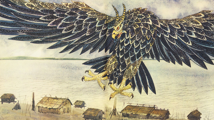 怪鳥「コリ」、ナナイ民族の民話『正確な射手』