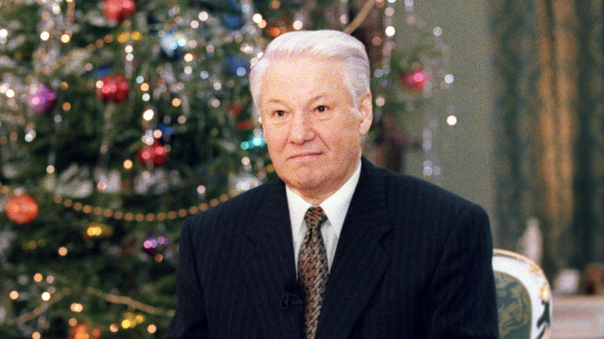 President Boris Yeltsin making a traditional New Year address to the nation on the eve of 1997
