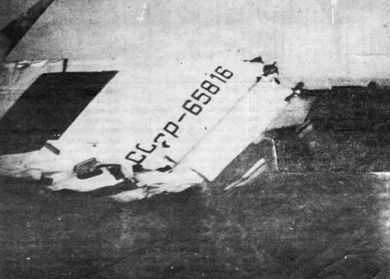 Судар авиона Ту-134 изнад Дњепродзержинска, репни део једног авиона.