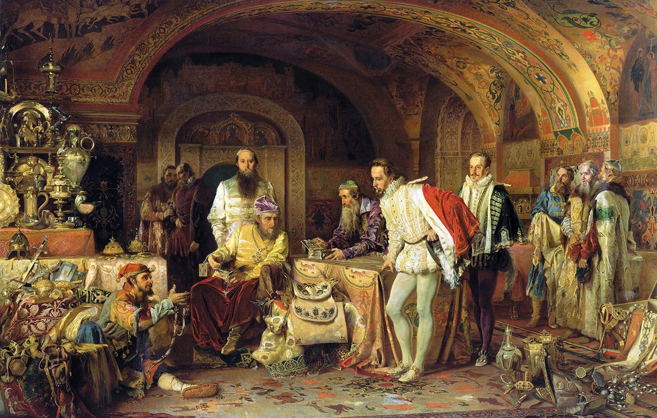 Ivan Grozni kaže blago angleškemu veleposlaniku Jeromeu Horseyju, 1875, Aleksander Litovčenko