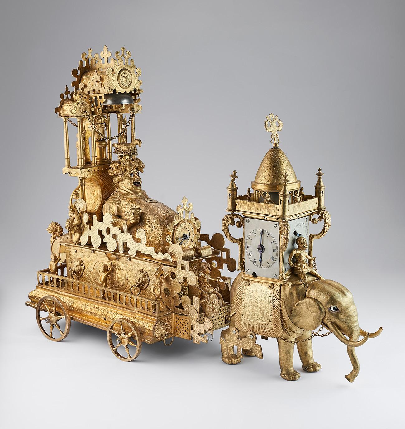 """ЧАСОВНИК """"БАХУС"""", Аугзбург, крај 16. века  Бронза; ливење, искуцавање, гравирање, позлата"""