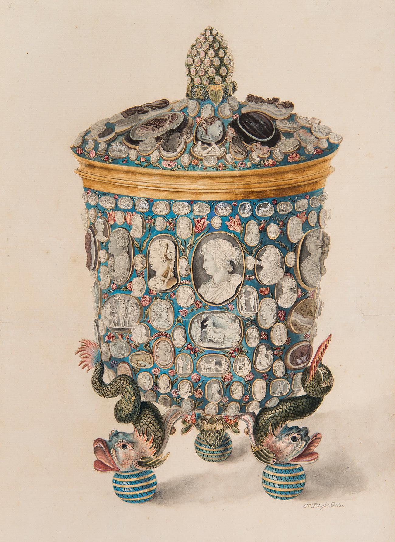ОТМАР ЕЛИГЕР: ПЕХАР СА ПОКЛОПЦЕМ УКРАШЕН ДРАГУЉИМА    Акварел. Русија, око 1730.    Папир, четкица, перо, позлата, мастило, водене боје