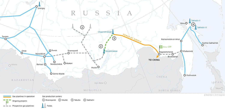 """Схематски приказ на коме се види преко којих руских територија пролази гасовод """"Снага Сибира""""."""