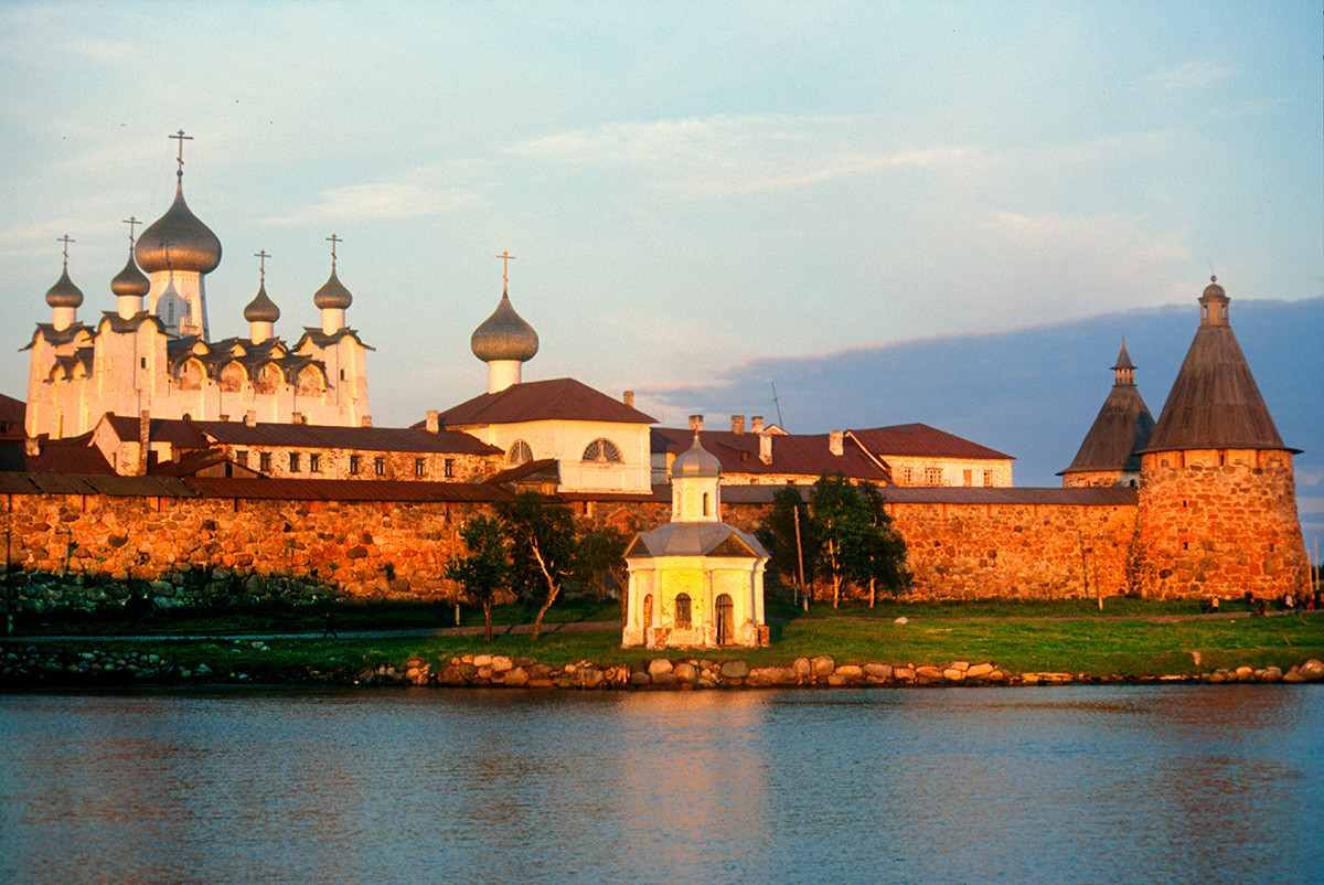 Great Solovetsky Island. Transfiguration Monastery. Northwest view from Preobrazhensky Hotel dock. From left: Transfiguration Cathedral, Annunciation Church over Holy Gate, Chapel of Saint Alexander Nevsky. July 25, 1998.