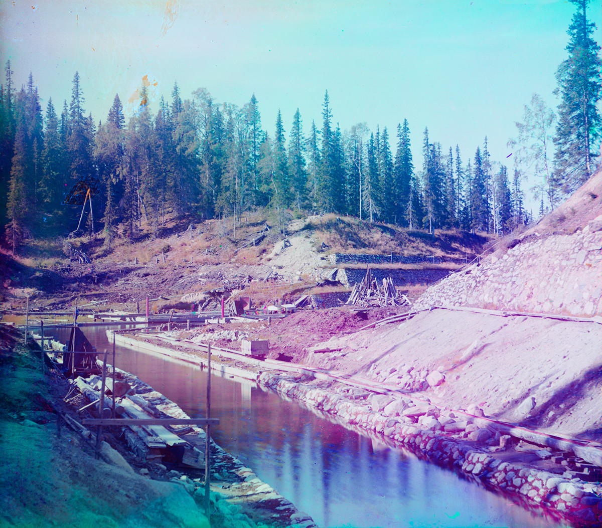 Great Solovetsky Island. Boat canal under construction between Long Lake & Little Red Lake. Late summer 1916